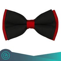 Corbata De Moño - Bow Tie Negro Con Tinto - Grin Accs