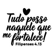 Adesivo De Parede - Bíblica Fé Deus Tudo Posso Coração Frase