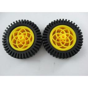 Roda 53mm Com Pneu Para Motor Dc - Par R$32,00