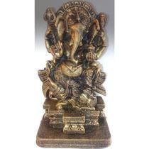 Ganesha Deus Estatua Estatueta Escultura Indiano Dourada