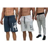 1 Calça Moletom + 2 Bermuda Moletom Slim Fit Shorts Swag Top