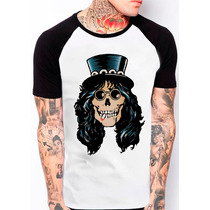 Camiseta Raglan Caveira Slash Guns N Roses Rock N Roll 385