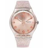 Reloj Swatch Suok 703 Rosa Glistar Malla Con Brillantes