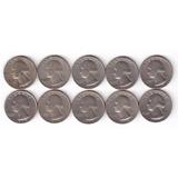 Coleção 10 Dez Moedas De 1 Quarter De Dólar Vários Anos Sem