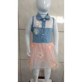 Vestido Bebê Jeans E Flores (com Aplicações Bordadas)