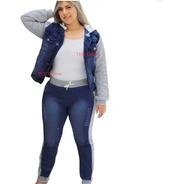 Conjunto Calça Jeans Com Moletom E Jaqueta Capuz Plus Size