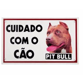 Placa De Advertência Caes - Cuidado Com O Cão Pit Bull 20x30