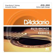 Jogo D'addario Violão Bronze 85/15 Ez900-b C/corda (e) Extra