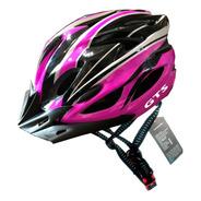 Capacete Rosa Inn Mould Com Sinalizador Led Ciclismo Bike Dk