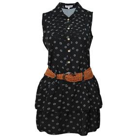 Vestido Sin Mangas Estampado Dama Mujer Negro 1566 Zoara