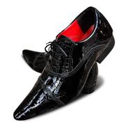Sapato Social Masculino Bico Fino Couro Legitimo Queima