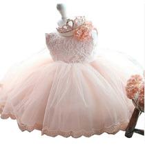 Vestido Infantil Bebê Festa 1 Aninho Aniversário Rosa Azul