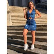 Vestido Sol Jeans Curto Abertura Frontal Com Lycra Azul