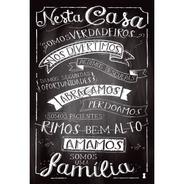 Placa Quadro Decorativo 60x40cm Frases Somos Uma Família