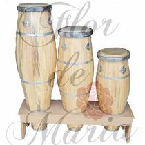 Atabaque Trio Rum Rumpi Lê Nf *suporte E Frete Grátis* !!!