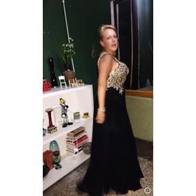 Vestido Fiesta Soñado Gaza Negra C/detalle Dorado T:l-xl