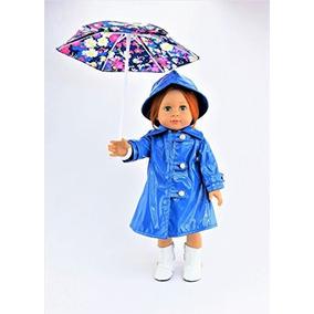 Impermeable Azul Con Sombrero, Botas Y Paraguas Floral Set