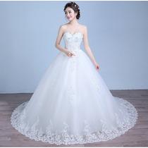 Vestido De Noiva Renda Bordado Com Saiote Luva E Veu Gratis