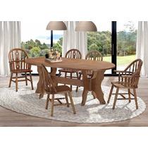 Conjunto Mesa E Seis 6 Cadeiras Madeira Pinus Envernizada