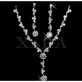 Aretes Pulsera Collar Novia Tiara Diadema Cristal Austriaco