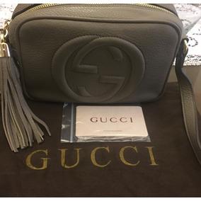 Cartera Gucci Soho Disco Gris Cuero Original En Stock