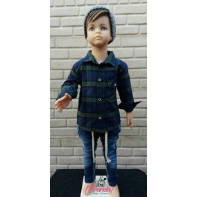 Camisa Invierno Jeans Gorro Lana T4 Al 16 Nuevo Nene Niño