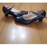 Zapato Cuero Tipo Español Y Folklore Color Negro