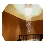 Lustre De Cristal Espiral Base 50 Cm De 2  Até 2,50 Metros