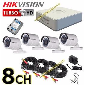 Kit Seguridad Hikvision Dvr 8ch Hd + 500gb + 4 Cámara Cable