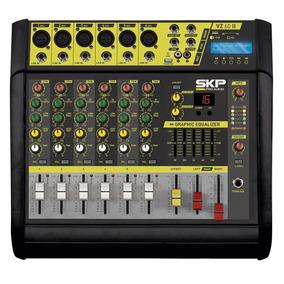 Mesa De Som Amplificada 6 Canais Skp Vz60 Usb Bt 400 Watts