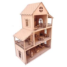 Casa De Boneca Mdf Crú Madeira 80cm Altura Com 50 Movéis