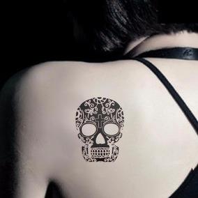 Plantilla Con 3 Tatuajes Temporales De Calacas