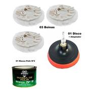 Kit Polimento C/ Disco 125mm  03 Boina 01 Massa Polimento