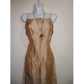 Harlow Dresses, Vestido Retro Tela Brillosa Metalica Oro