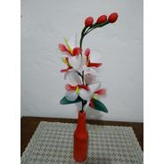 Arranjo  Artesanal Orquídea Vaso Vermelho  Flores Coloridas