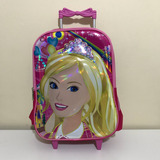 Mochila Bolsa Infantil 3d Com Rodinha Barbie Oferta