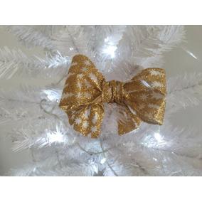 Laço De Natal Dourado Glitter Simples (13cm - 10unidades)