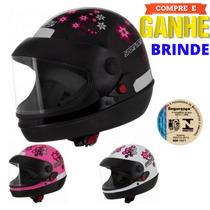 Capacete Moto Feminino Sm For Girls Pro Tork + Brinde