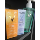 Combo Vichy X3 Ideal Soley 50 Rostro,agua Termal Gel Purete