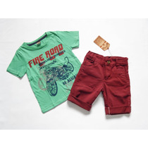 Conjunto Infantil Menino Short Jeans Bordo Vinho E Camiseta