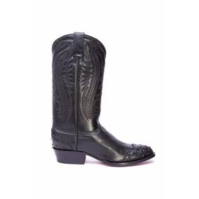 Bota Caballero Rancho Boots Negro Grabado Avestruz 010915012