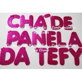 Letra Eva Com Glitter Pink Alt 11cm Decoração Painel
