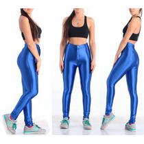 Calça Legging Cintura Alta Brilho Couro Disco Pants C/ Botão