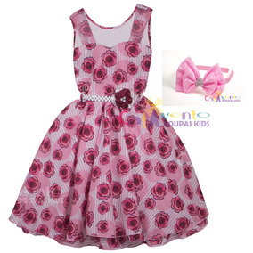 Vestido De Festa Infantil Floral Tamanho 4 Ao 12 Com Tiara