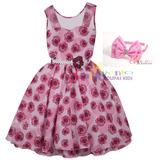 Vestido De Festa Infantil Floral Tamanho 4 Ao 16 Com Tiara