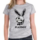 Camiseta Coelho Da Playboy Esqueleto Feminina Baby Look