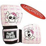 Luva De Muay Thai Boxe Fight Brasil Killer Girl Branca 10oz