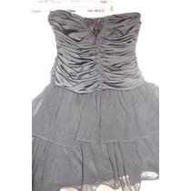 Vestido Fiesta Adolescente T L Drapeado Negro Con Gasa
