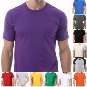 Camiseta Roxa Algodão Lisa Básica Tradicional Camisa Malha