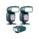 Paquete 2 Flashes Godox Tt600 + Transmisor X1t Para Nikon